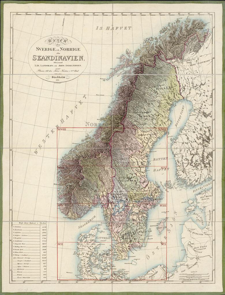 Carl af Forsells kart over den skandinaviske halvøy, påbegynt etter unionsinngåelsen i 1814, sidestilte Sverige og Norge med Skandinavia i tittelen. Eier: Nasjonalbiblioteket
